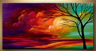 Acrylic large colorful landscape painting by OsnatFineArt