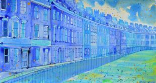 Acrylic painting by Bath, architectural drawing of the Walcot, bath. English geo ...