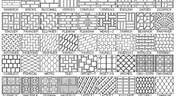 AutoCAD Hatch Patterns - 100 Plus Hatch Patterns - Dwg Drawing Download!
