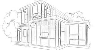 "Download the royalty-free photo ""Architecture sketch drawing house"" from Moon to ..."