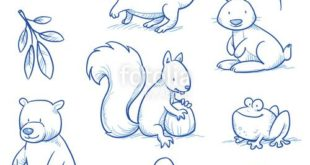 "Download vector ""Cute cartoon forest animals."" Bear, squirrel, ..."