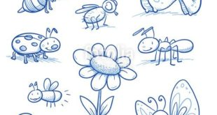 """Download vector """"Set of cute little cartoon insects and small ..."""