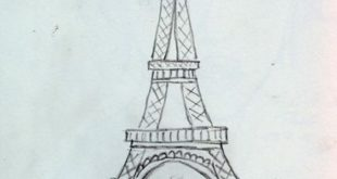 The Eiffel Tower seen from Palais Chaillot. The drawing is on July 14, 20 ...