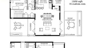 1269 square feet Plan of small contemporary house with three bedrooms, two bathrooms, a front ...