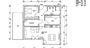 Bungalow floor plant with garage and roofed pent architecture - Detached house ba ...