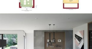 Compensation of penthouse in modern house with gallery and office extension - Detached house built ...