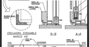 Detail of aluminum window and drawing in autocad dwg files - CAD Design | To download...