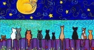 Full Moon Cats Cat on the moon Kitten Near the ocean by AliceinParis