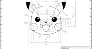 "Learning drawings> 2D practice drawings> AutoCAD practice drawings - 802 (Pikachu): ""..."