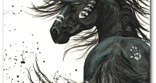 Majestic Mustang Black Stallion Native American Biting Horse Art - 11 x 10 ...