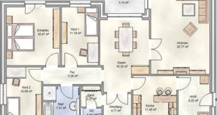 PLAN 125 - angular bungalow with floor plan of 125 m2