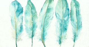 Painting of blue goose feathers, giclee watercolor print, lime, teal, green ...