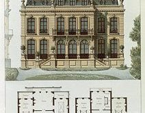 Parisian suburban house and printed plans by Leon Isabey