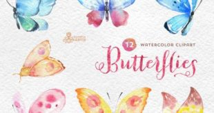 Watercolor Butterflies: 12 Hand Painted By OctopusArtis