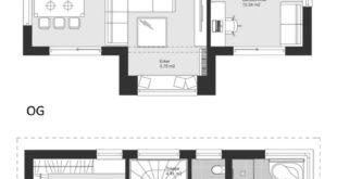 New modern construction detached house plan with architecture of saddle roof in ...