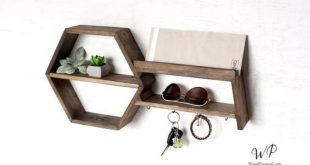 Entry key tray, solid wood hexagon, entry level organizer. Click on the link in