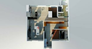 , Floor plan for an independent, elegant lady living on the top floor. Specificat