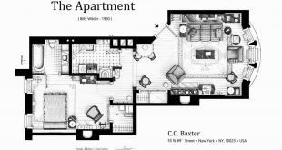 "Floor plan of C.C. Baxter's apartment from the movie ""The Apartment"" by Billy Wil"