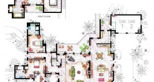 Floor plan of Charlie Harpers beach house by TWO AND A HALF MEN.