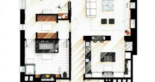 Floor plan of Patrick Bateman's apartment from the movie AMERICAN PSYCHO.