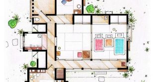 Floor plan of the Kusakabe residence from the movie MY NEIGHBOR TOTORO (TONARI NO TO