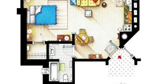 Floor plan of the apartment Elliott Alderson of MR. ROBOT.