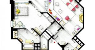 Floor plan of the apartment by Jan Morrow from the movie PILLOW TALK.