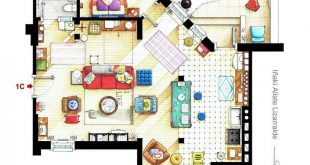 Floor plan of the apartment from the TV show 2 BROKE GIRLS.