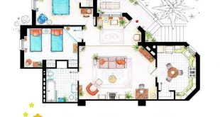 Floor plan of the apartment from the television program THREE & # 39; S COMPANY.