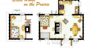 Floor plan of the house of the SMALL HOUSE ON THE PRAIRIE.