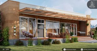 House with 2 bedrooms, fits on a plot of 17 meters long and 18 meters wide. Dm for