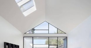 Minimalist living room with huge skylights that let in lots of light
