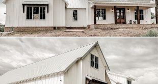 Our client builds the Architectural Designs Modern Farmhouse Plan in reverse order