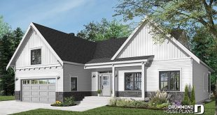 PLAN 3246-V2 One-storey ranch house plan with garage for 2 cars, large kitchen with