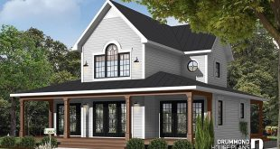 PLAN 3511 4 season chalet or lake house plan with two fireplaces, 3 to 4 b