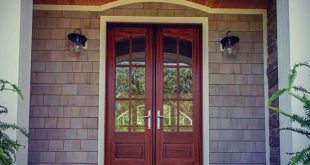 Porch with French doors from The Hickory Place Plan 5001.