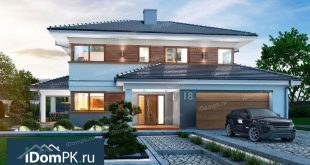 Project of a two-storey brick house with garage and terrace p1861ke    Floors: 2