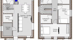 The layout of a two-storey residential building with a total area of 140 m2  ___________________