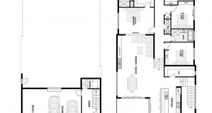 This floor plan on two levels was designed to accommodate a sloping block