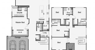 This two-story floor plan shows an innovative design in conjunction with an arr