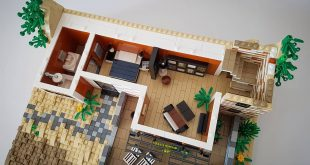 Two pictures show the interior on the ground floor. Orange Beach House MOC work in Pro