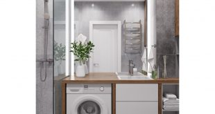 Visualization of the bathroom of a one-room apartment in Dolgoprudny 3D visualization performed