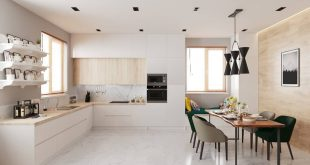 perspective  Kitchen in bright colors, in combination with marble tiles and slat wall