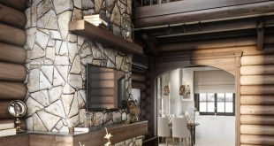 HOUSE CHALET. LIVING ROOM 3D visualization of the interior designed by the designer. , , On the photo