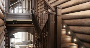 HOUSE CHALET. Staircase on the second floor , , Visualization of a very interesting project in