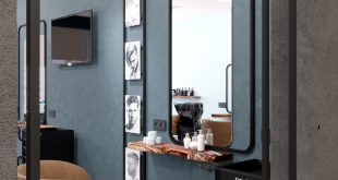 Visualization of the men's hall in a beauty salon The designer , , ,