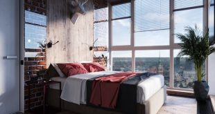 Area 16.6 sqm In the field of industrial comfort that unites a bedroom