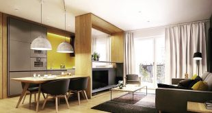 Living room (living room) with integrated kitchen on Wohnzimmeroberflaeche.LivingRo