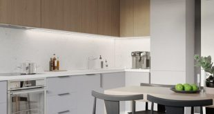 The interior of the apartment. Visualization of the kitchen.