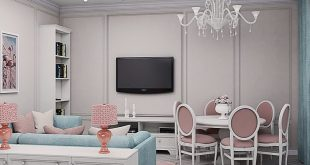 Visualization of the guest area of ​​the eat-in kitchen in the style of a country house